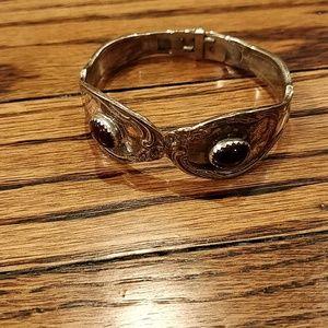Jewelry - Sterling and garnet spoon bracelet